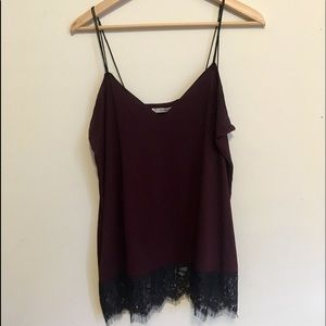 Purple tank with black lace